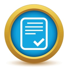 Gold yes document icon vector