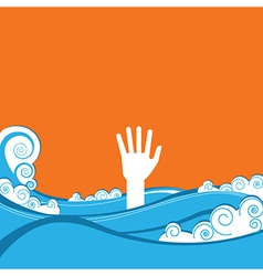 Hand of drowning vector
