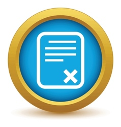 Gold no document icon vector