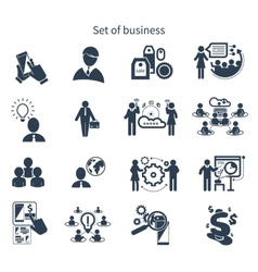 Business presentation teamwork concept icons vector