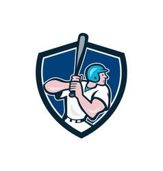 Baseball player batting shield cartoon vector