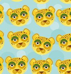 Leopard seamless pattern with funny cute animal vector