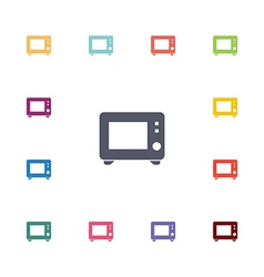 Microwave flat icons set vector