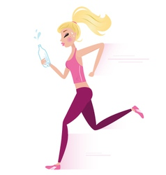 Sporty woman jogging vector