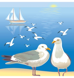 Seascape with seagulls vector