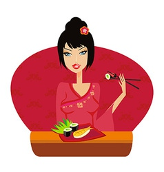 Beautiful asian girl enjoy sushi vector