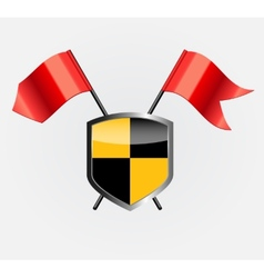 Protective shield with red flags vector