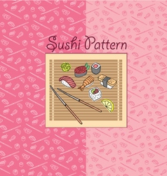 Sushi pattern pink vector