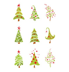 Funny christmas trees vector