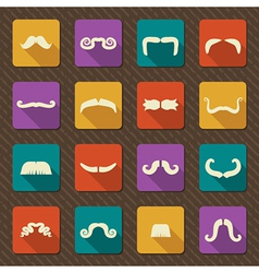 Set of mustaches retro icons vector