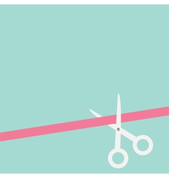 Scissors cut straight ribbon on the right flat des vector