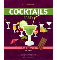 Tropical cocktails night party invitation poster vector