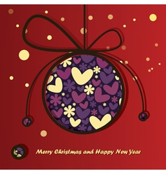 Christmas ball with flowers and hearts inside vector