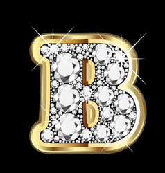 Letter b gold and diamond vector