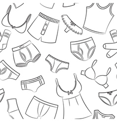 Female and male underwear doodle pattern vector