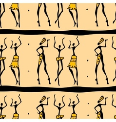 Seamless african dancers vector