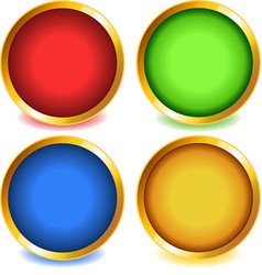 Colorful buttons with gold bevel-set1 vector