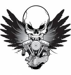 Winged skull v-twin vector