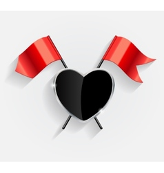 Protective heart shield with red flags vector