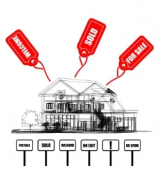 Wireframe of cottage with tags vector