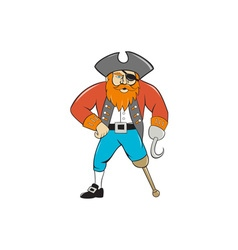 Captain hook pirate wooden leg cartoon vector