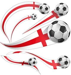 England flag set with soccer ball vector