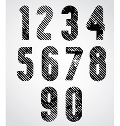Retro style numbers with halftone lines print vector