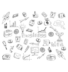 Business strategy icons outline sketch vector