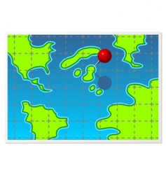 Map with pin vector