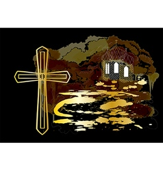 Cross and church vector