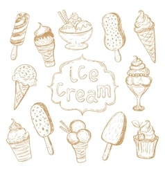 Hand drawing set of ice cream vector