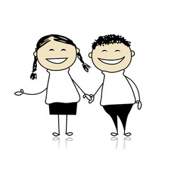 Funny couple laugh - boy and girl together vector