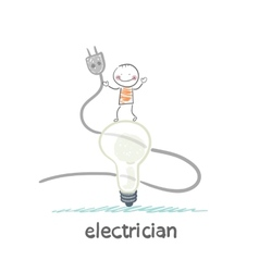 Electrician standing on a huge light bulb and vector