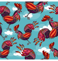 Crowing rooster seamless vector