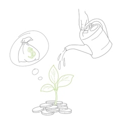 Human hand watering money coin tree with can vector