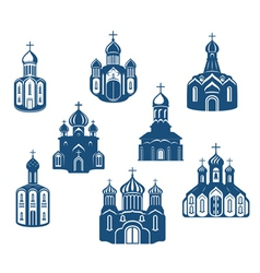 Religious churches and temples vector