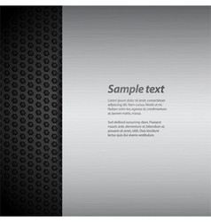 Brushed metal panel on black mesh with sample text vector