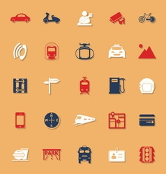 Land transport related classic color icons with vector