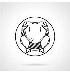 Grilled chicken black line icon vector
