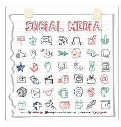 Social media icon and worddoodle sketchy vector
