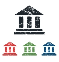 Classical building grunge icon set vector