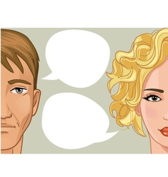 Woman and man with speech bubble vector