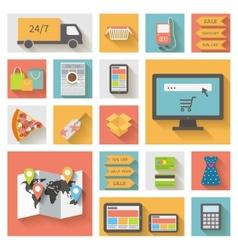 Internet shopping e-commerce concept icons set vector