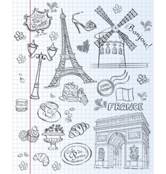 Set of images of various attractions paris vector