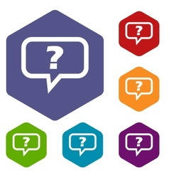 Question rhombus icons vector