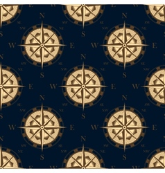Seamless golden stylized compass rose pattern vector