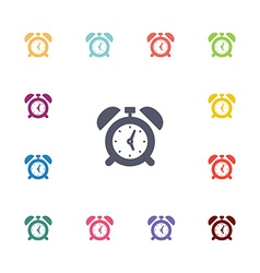 Alarm clock flat icons set vector