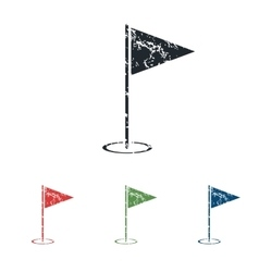 Flagstick grunge icon set vector