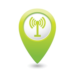 Wi fi icon green map pointer vector