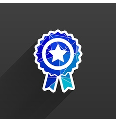 Blue best of badge with ribbon icon award champion vector